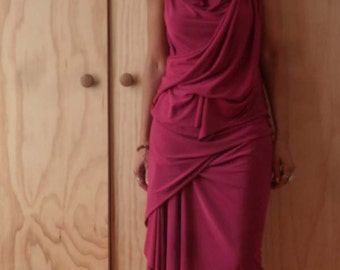 Fuchsia jersey drape cowl neck dress/raw edge sleeveless dress