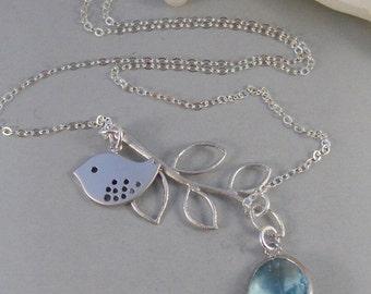 Summer Tree,Necklace,Sterling Silver,Aquamarine,Bird,Bird Necklace,Silver Necklace,Branch,Bride,Wedding,Birthstone.Jewelry valleygirldesigns