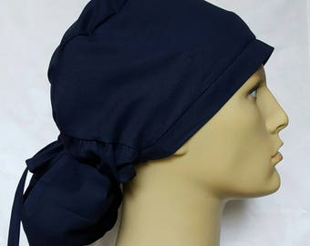Navy BLUE PONYTAIL Surgical Scrub hat Theatre cap anatomy