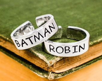 Batman and Robin Rings - Valentines Day Gift