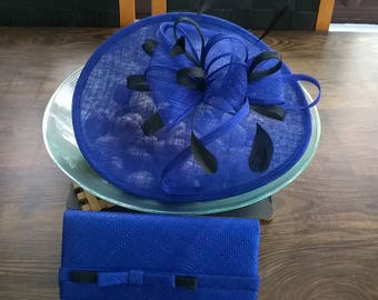 Sapphire Blue with Black Fascinator..Stunning shaped Fascinator on a Headband..
