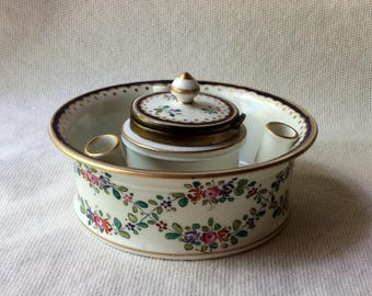 Antique French Porcelain Inkwell - French Country Style Home Decor-Home Office -Desk Decor-GentlemanlyPursuits