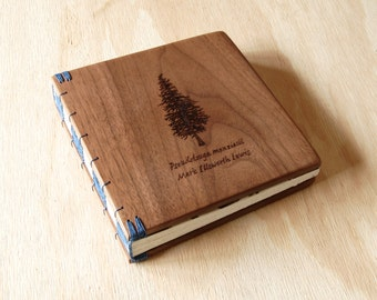 custom engraved wood memorial guest book wedding or cabin guestbook black walnut rustic anniversary  personalized journal  - made to order