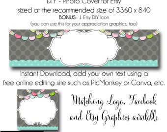 DIY Etsy Cover Photo - Add your own Text, Instant Download, TheParty Time, New Cover Photo For Etsy, Made to Match Graphics