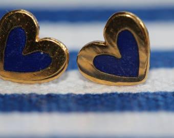 VINTAGE Laurel Burch HEART pierced earrings