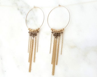 Smokey Quartz Fringe Hoops