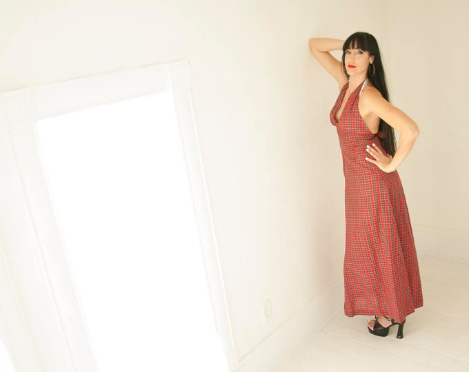 Vintage red plaid maxi dress, halter summer beach, boho 1970s, green cotton, empire waist, A-line, M L