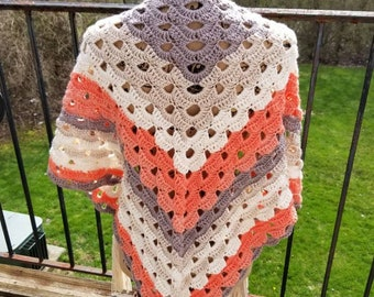 Hand Crochet Shawl, Crochet Shawl, OOAK Gift, Handmade Gift, Handmade Shawl, Triangle Scarf, Handcrafted Shawl, Crochet Wrap- Peachy Comfort