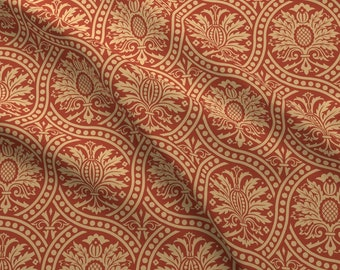 Circular Damask Fabric - Damask 11a By Muhlenkott- Victorian Damask Ornate Traditional Red Floral Cotton Fabric By The Yard With Spoonflower
