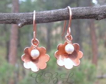 Dainty Copper Flower Bowl Earrings With Swarovski Crystal Pearls