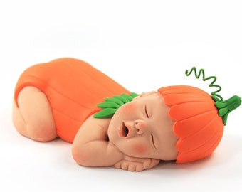 Pumpkin Baby Sugar Paste Cake Topper for Halloween & Fall Baby Shower by lil sculpture