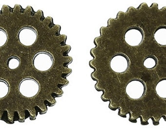 Embellishment Findings Gear Round Antique Bronze - Pack of 16