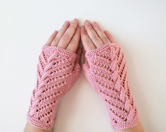 Fingerless gloves, half mitts, cotton. Vegan. Old style pink arm warmers, texting gloves