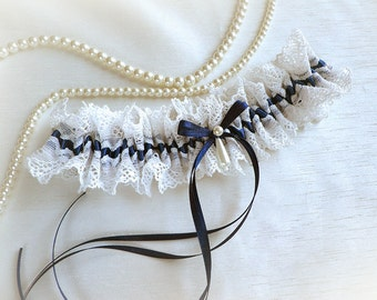 Ivory Lace Navy blue satin garter  wedding bridal garter
