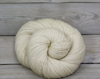Starbright - Undyed Bluefaced Leicester Wool Silk Heavy Lace Light Fingering Yarn - Colorway: Natural Ivory