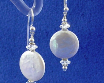 16 mm White Coin Pearl, Swarovski Crystal and Sterling Silver Earrings