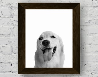 black and white dog photography, animal print, dog wall art poster, nursery animal photo, pet portrait, digital download, printable artwork