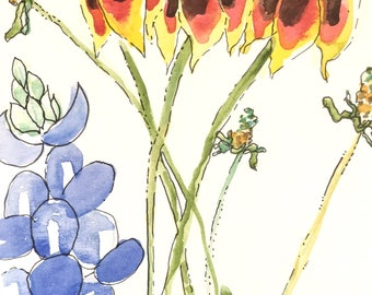 Greeting Cards: Mexican Hats with Bluebonnet, Set of 4 Blank Note Cards, 4.25x5.5 inches