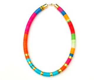 Colorful Statement Necklace, Big and Bold Necklace, Chunky Textile Necklace, Modern Rope Necklace For Women, Unique Gift For Her