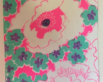 "1970s Vintage Floral Zuzek Key West Hand Print Lilly Pulitzer Fabric 8.5"" Square M29-L2"