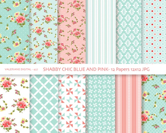 Shabby Chic Digital paper pack in blue and pink, digital backgrounds ...