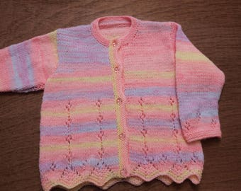 Girls, Cardigan, Lacy Pattern, Variegated, Acrylic Yarn, Machine Washable, Handmade. Hanknitted.