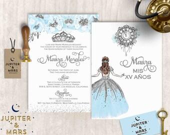 Cinderella Blue Quinceañera Invitation, Quinceanera Invitation, Invitacion de Quinceañera, Blue and Silver, Tiara, Princess DIGITAL FILE