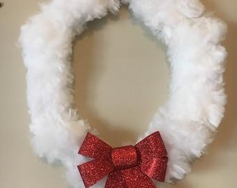 Fuzzy White Christmas Wreath