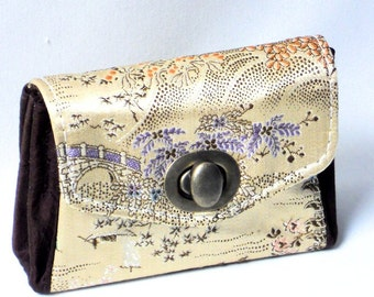 Womens Handmade Silk Wallet,Gold and Brown Ladies Wallet, Ready to Ship Gift, on SALE, by WhiteCross Designs Made in USA
