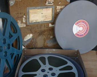 Vintage Motion Picture Film Box, with Two Reels, Film, and Metal Case