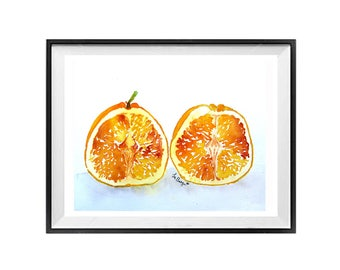 Kitchen Wall Art,Christmas Time Sale,Food Art Original,Fruit art,Oranges on white background,Orange Fruit Wall Decor,Original artwork,Gift