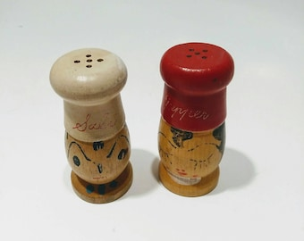 Mr. Salt and Mrs. Pepper vintage wooden shaker set collectible table decor