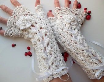 Crocheted Cotton Gloves L Ready To Ship Victorian Fingerless Summer Women Wedding Lace Evening Bridal Knitted Party Opera Ivory Corset B82