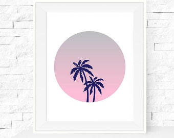 A4 Palm Trees on Sunset Circle Art Print