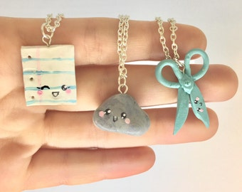 Rock Paper Scissors Best Friend Necklace for 3 three