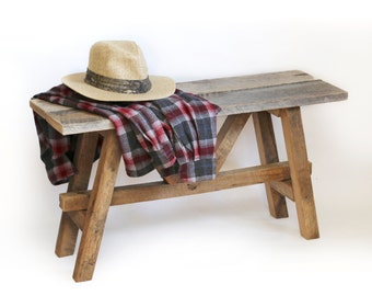 Farmhouse Style Bench - Rustic barn wood furniture – Entry way seat – Mudroom seat