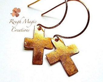 Christian Earrings Copper Cross, Rustic Primitive Textured Metal, Religious Statement Jewelry, Inspirational Gift, Old Rugged Cross E394