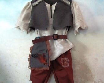 Lost Boy, Peter Pan, Neverland Costume: Tunic, Pants, Vest, Pouch/Belt - All Cotton Fabric - Size 3/4, Ready To Ship