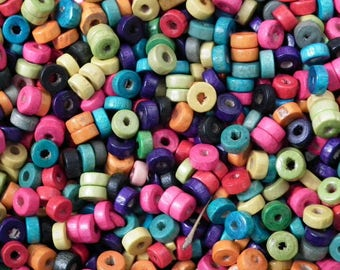 ♥ 25 x mixed rondelle wood 6x3mm ♥