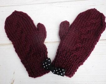 Women's mittens for children 4-5 color plum