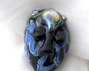 lampwork focal bead, hand spun glass bead, artisan bead, macabre face bead, lampwork glass face, artisan bead, sra glass, glass face