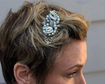 Bridal Barrette, Wedding Hair Clip, Something Blue Wedding, Bridal Headpiece, Bridesmaid Hair Clip, White Headpiece, Bridal Hair Piece