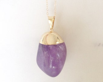 Violetta Gold Plated Tumbled Amethyst Pendant