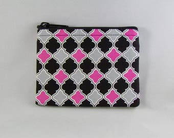 Pink/Gray Quatrefoil Coin Purse - Coin Bag - Pouch - Accessory - Gift Card Holder