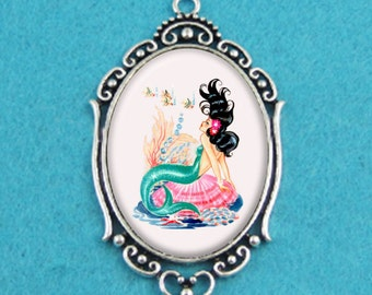 Rockabilly MERMAID Pin Up Girl Necklace
