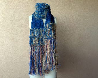 Long Blue Scarf, Fringe, Knit Scarf, Blue Womens Scarf, Gold Copper Rust Brown and Dark Blue, Denim Blue Scarf