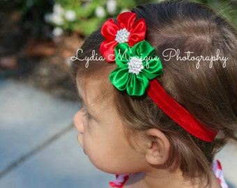 Christmas headbands, red and green flower headband, baby headbands, baby girl headbands, red headbands, infant headbands, newborn headbands