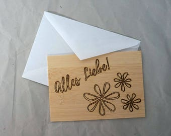 Greeting Card wood, all love flower