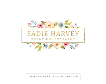Premade Logo - Watercolor Logo - Logo Design - Photography Logo - Floral Logo - Flower Logo - Gold Logo - Blog Header - Boutique Logo