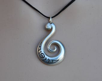 Maori Koru sterling silver pendant~ on black adjustable cord. Sterling Silver tribal ethnic jewelry.